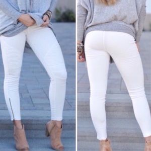 Pants - White Skinny Ankle Zip Moto Pants
